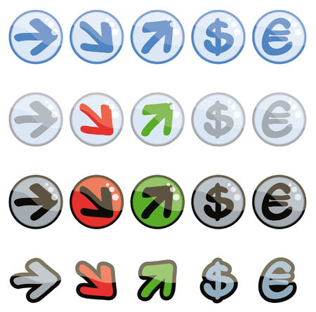 Set of funny up and down symbols