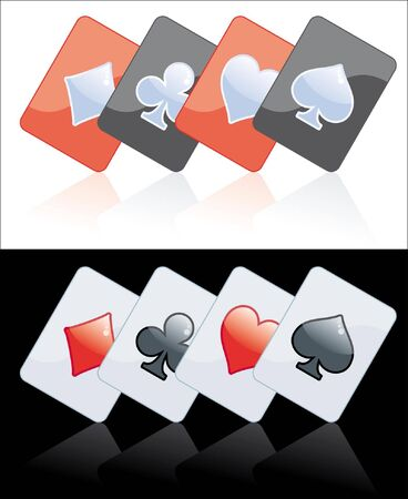 Poker card black and red isolated on black or white background Vector