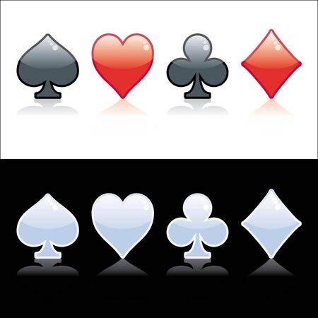 Poker symbol black, red and crystal isolated on black or white background Vector