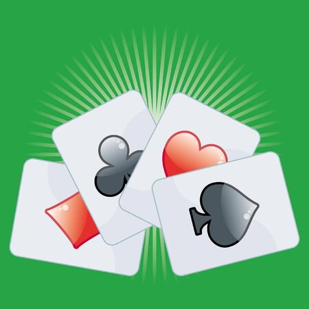 Poker card on green background Stock Vector - 3528216