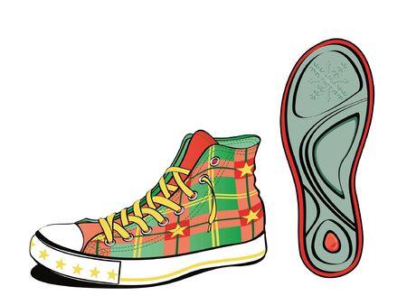 Christmas shoe with sole sheet isolated on white Illustration