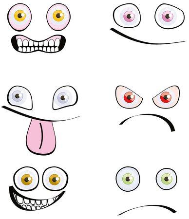 set of six emotions cartoon style isolated on white