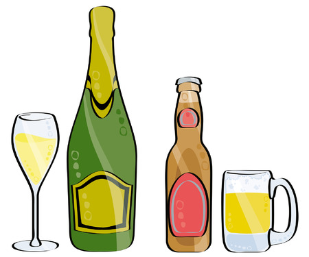 glass and bottle of champagne and beer isolated on white