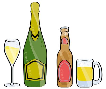 vetro e bottiglia di champagne e birra isolated on white