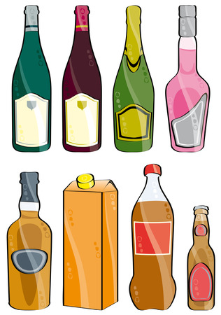 few bottles isolated on white Illustration
