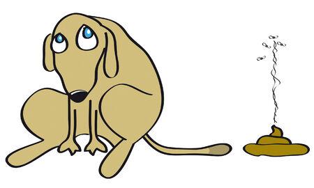 ¡Perro malo hizo una suciedad en el suelo aislado en blanco Ilustración de vector