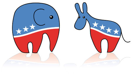 Funny representation of Republican and Democratic symbols
