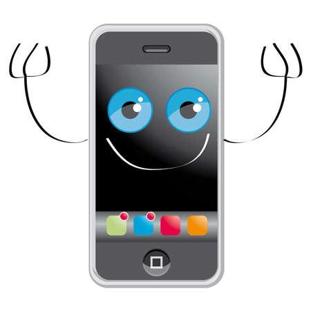 telefono caricatura: De estilo de dibujos animados para tel�fonos m�viles Editorial