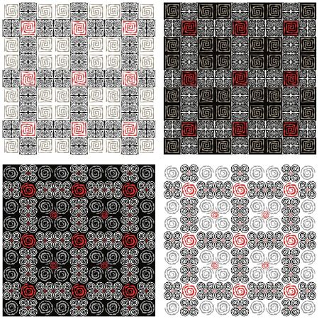 Four different psychedelic background black, red and white