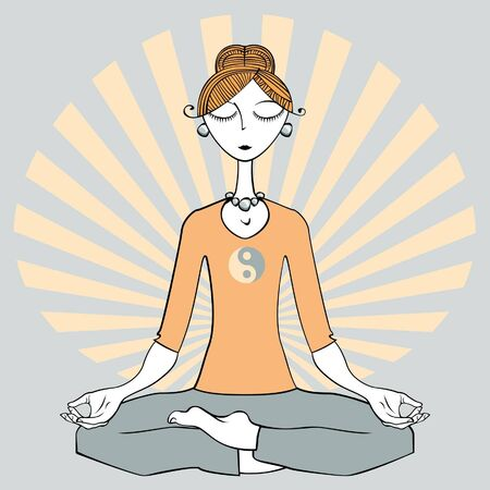 zen vector: Woman sitting doing yoga