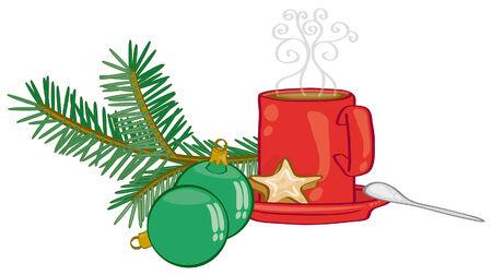 chocolat chaud: tasse de chocolat chaud sur la d�coration de No�l  Illustration