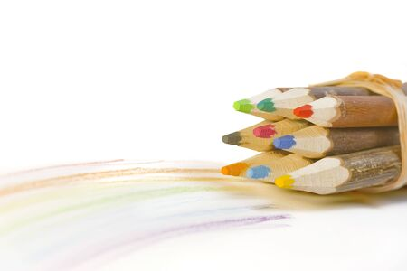 wooden pencils with rainbow including Clipping Paths  Stock Photo