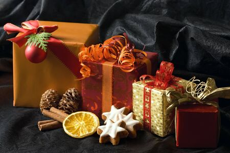 Christmas Gifts on a black background  Stock Photo