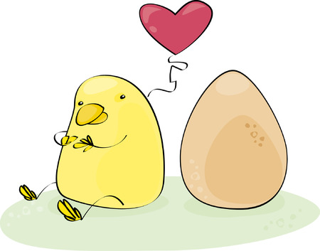 forsythia: yellow chick who loves an egg  Illustration