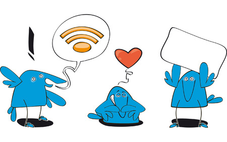 set of three funny bluebirds with RSS symbol  Illustration