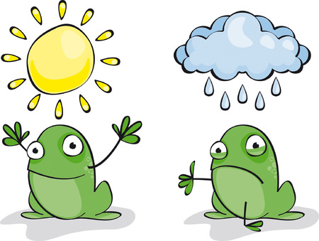 set of two funny green frogs Weather  Illustration