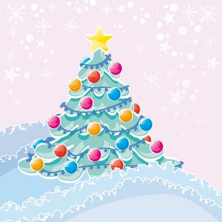 bucolic: Albero di Natale in natura con decorazione Vettoriali