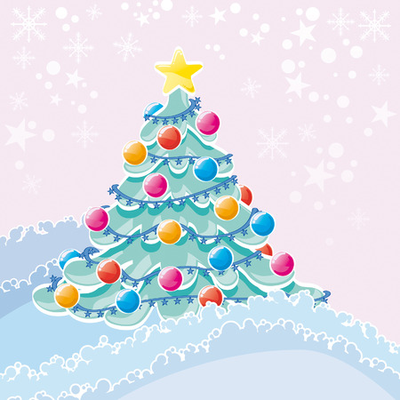 bucolic: Christmas tree in nature with decoration Illustration