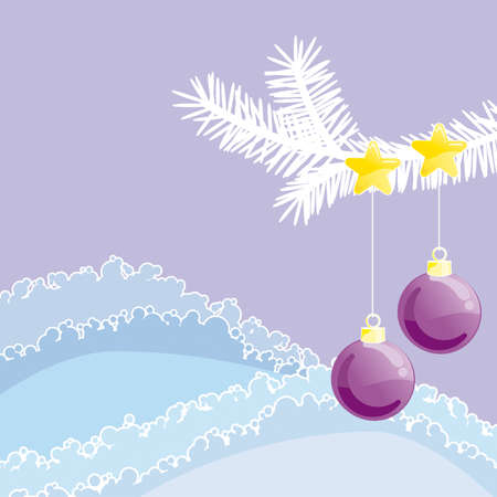 Detail of christmas tree in nature with decoration Illustration