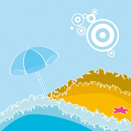 Beach at the seaside with umbrella Illustration