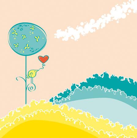 bucolic: Paesaggio bucolico con colori pastello