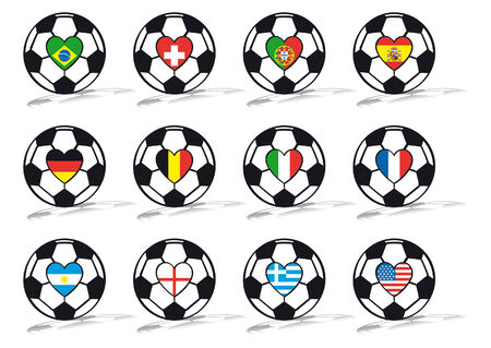soccer ball with flags in heart