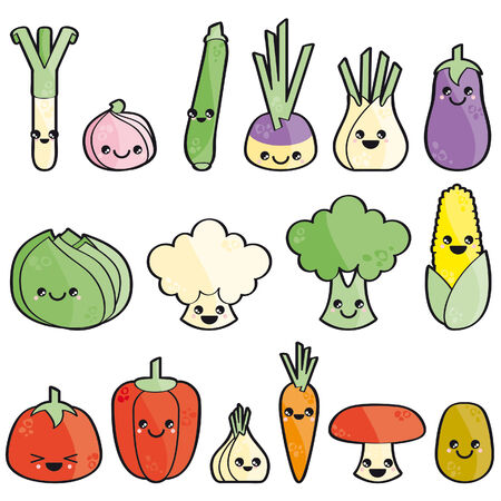 happy vegetables isolated on white background