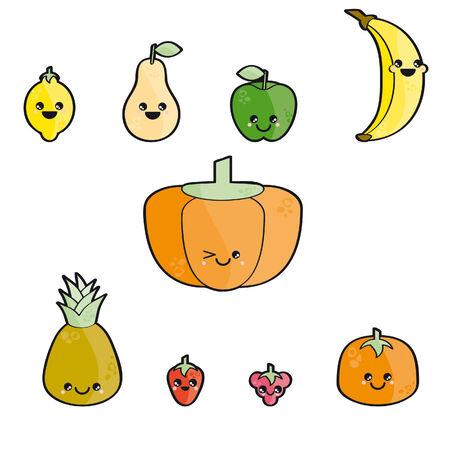 Happy fruits isolated on white background