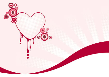 Pink graphic heart with spilled blood
