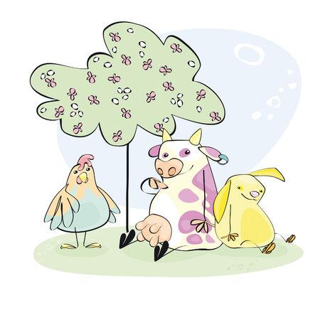 Happy farm animals under a tree