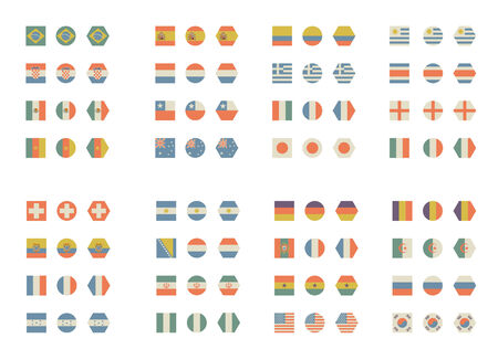 world cup: Simple and vintage flags for the world cup brazil Illustration