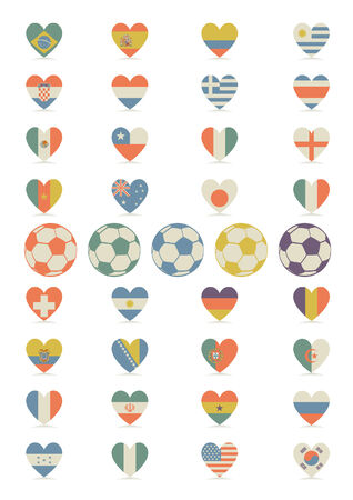 Flags in the form of heart Vector