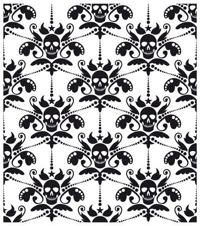 Pattern baroque with skulls