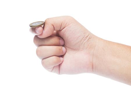 m�nzenwerfen: Hand bereit, M�nze Isoliert auf wei�em Hintergrund Flip.