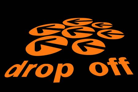 drop off: Drop off sign isolated on black background Stock Photo