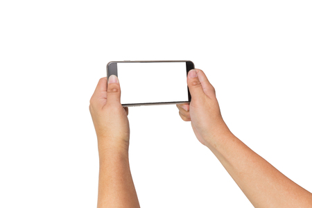 big screen: Two hands holding big screen smart phone, clipping path
