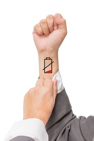 pulse: businessman show low battery on the wrist Stock Photo
