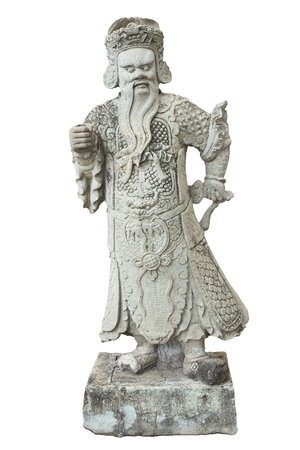 emerald stone: Stone Chinese warrior in the Temple of the Emerald Buddha Stock Photo