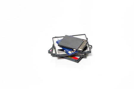 flash memory: SD and Compact Flash Memory Cards isolated on White Background
