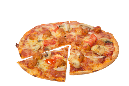 flavorful: Tasty flavorful pizza isolated on white background
