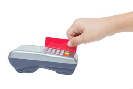 決済端末のクレジット カード、クレジット カードの読者、ファイナンスの概念で支払い、白地に分離を使用して手