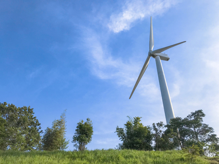 Wind turbines generating electricity with blue sky, Energy Production with clean and Renewable Energy, energy conservation concept