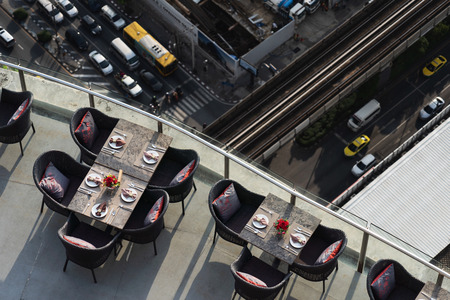 Top view of restaurant in the hotel near street ,  empty people 写真素材