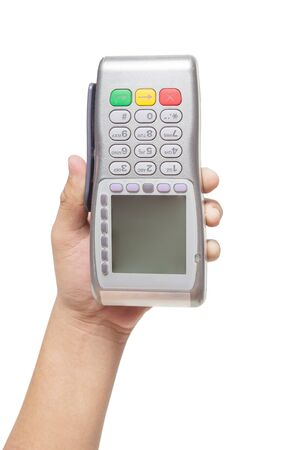Hand holding terminal for sale isolated on white