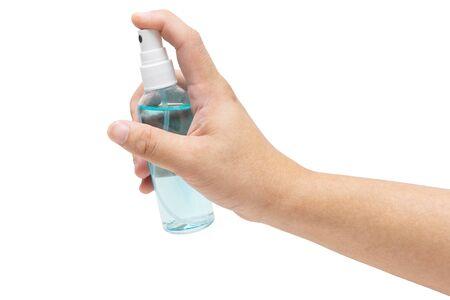 Coronavirus hands using alcohol spray or anti bacteria spray to prevent spread of germs, bacteria and virus. Reklamní fotografie