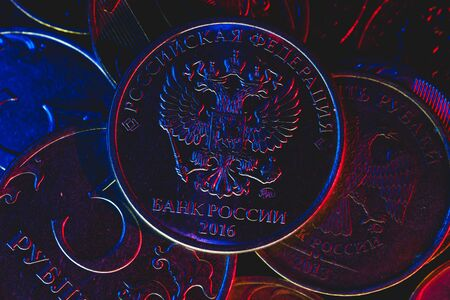 Two headed eagles emblem in low light Banque d'images