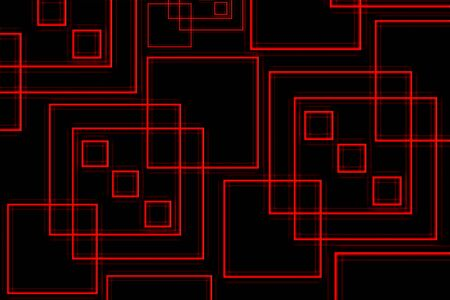 distort: abstract red squares on a black background illustration Stock Photo