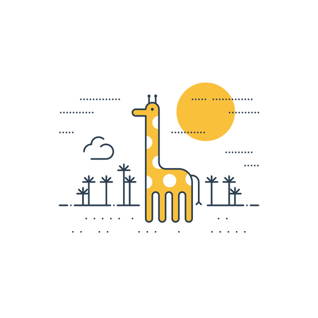 cute giraffe: African wildlife. A giraffe. Illustration