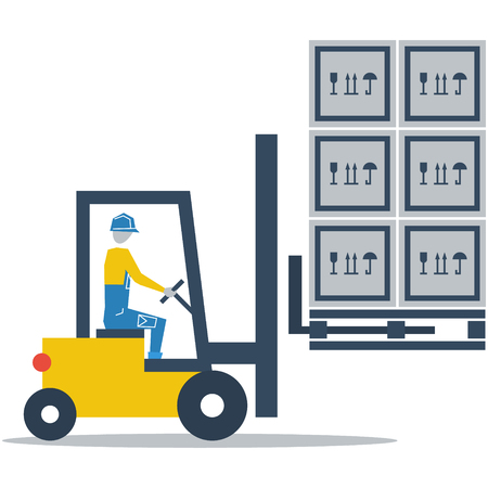 truck driver: Fork truck driver Illustration