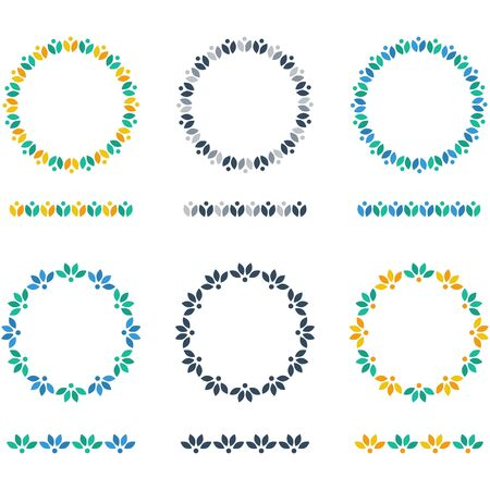 circle flower: Flower circlets set Illustration
